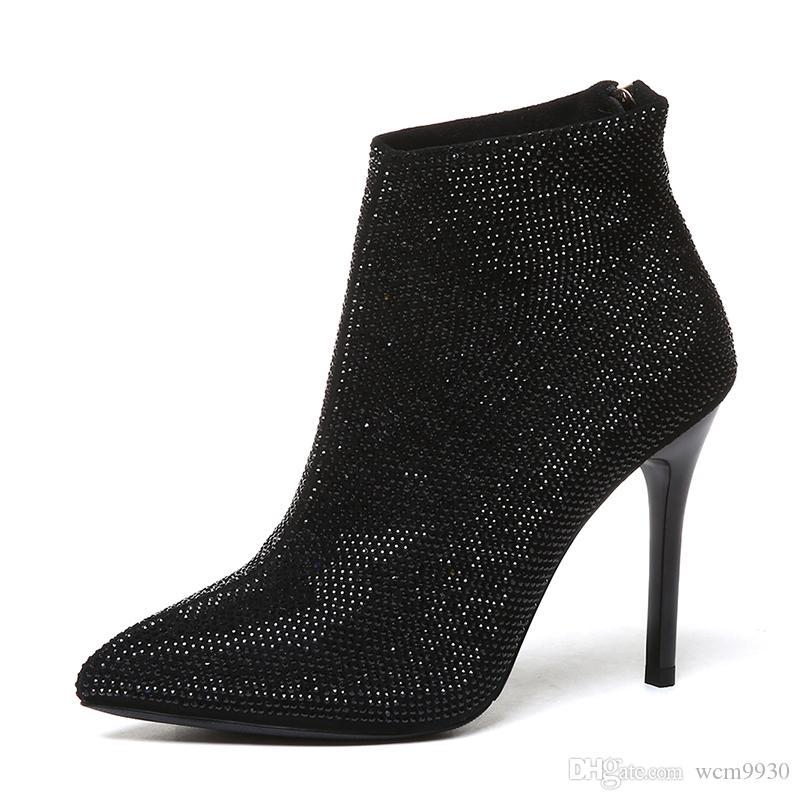 Acheter 2019 Automne Nouvelles Chaussures Femmes Strass Black Club Bout Pointu En Cristal Femmes Bottes À Talons Hauts De Mode Lady Bottes Dos Zip De