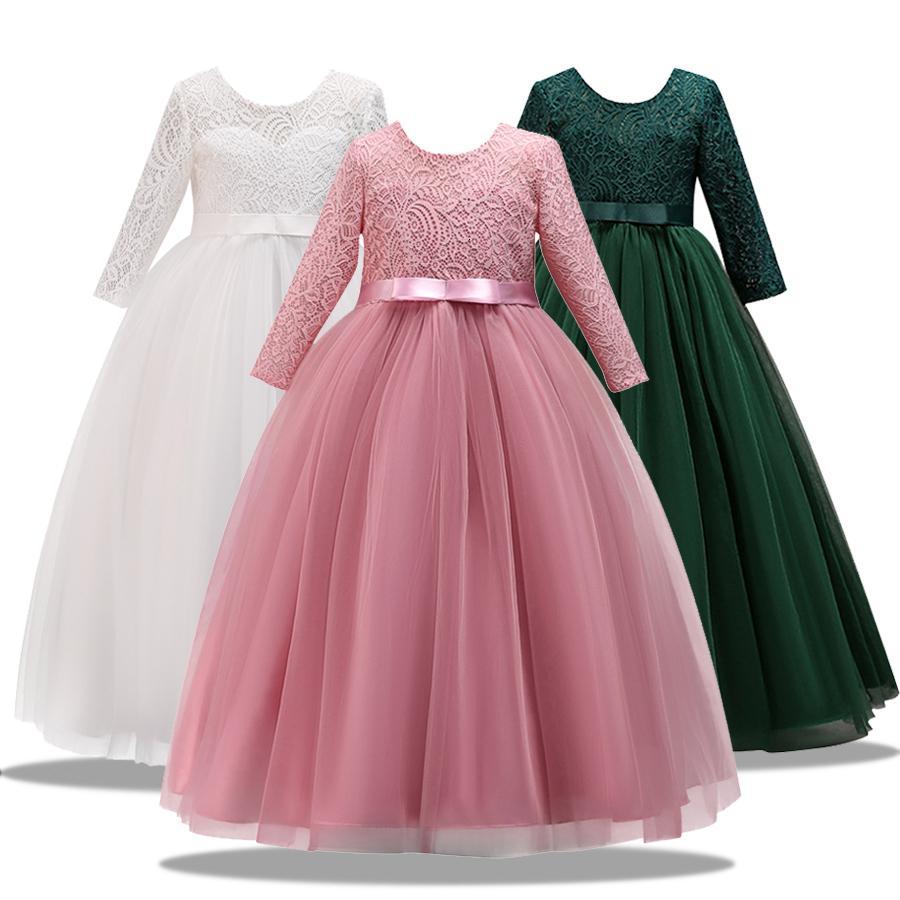 Dress Christma merletto della ragazza lungo in tulle ragazza teenager del partito del vestito elegante per bambini Abbigliamento Bambini Vestiti per ragazze principessa cerimonia nuziale GownMX190925
