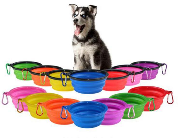 접는 강아지 볼 여행 접을 수있는 실리콘 애완 동물 개 사발 물 접시 피더 실리콘 접이식 9 개 색상을 먹이 고양이 그릇 LXL97-1