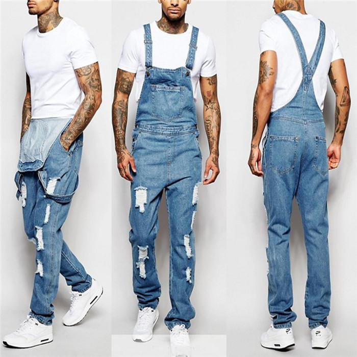 Schlanke Männer Jeans Herbst Mode Mens Overalls Hosen plus Größe Hole Man Spaghetti-Bügel-Jeans Skateboard Männer gerade Hose