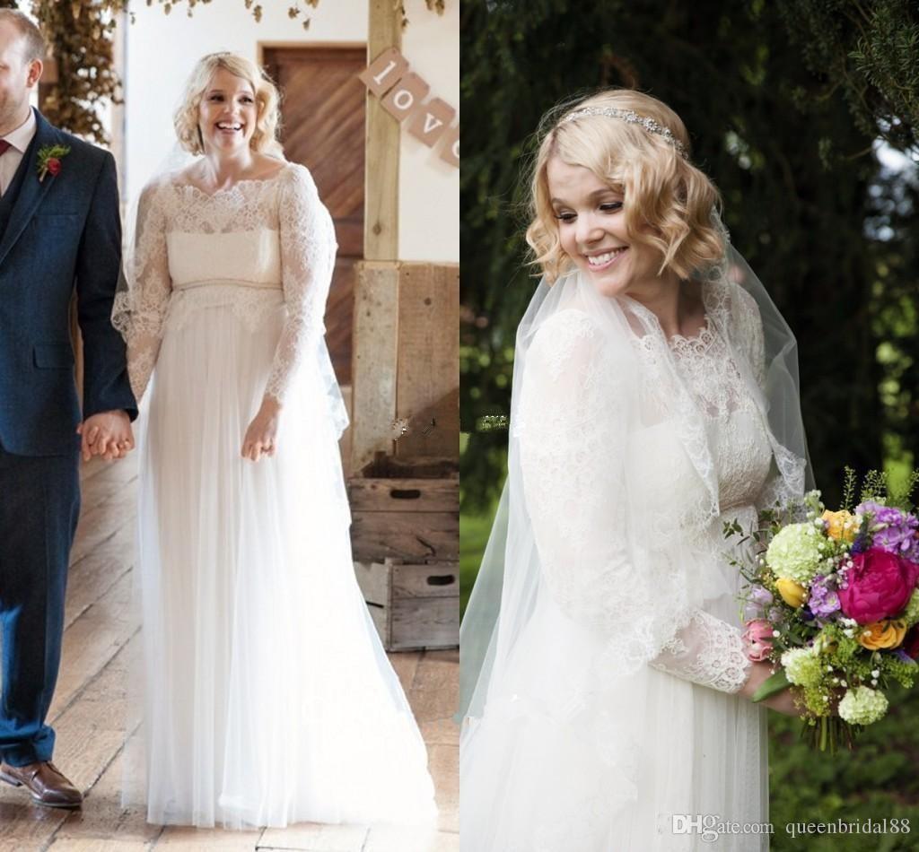 2019 país mais vestidos de noiva tamanho com faixa de renda mangas compridas vestidos de casamento tule a line dress para a noiva
