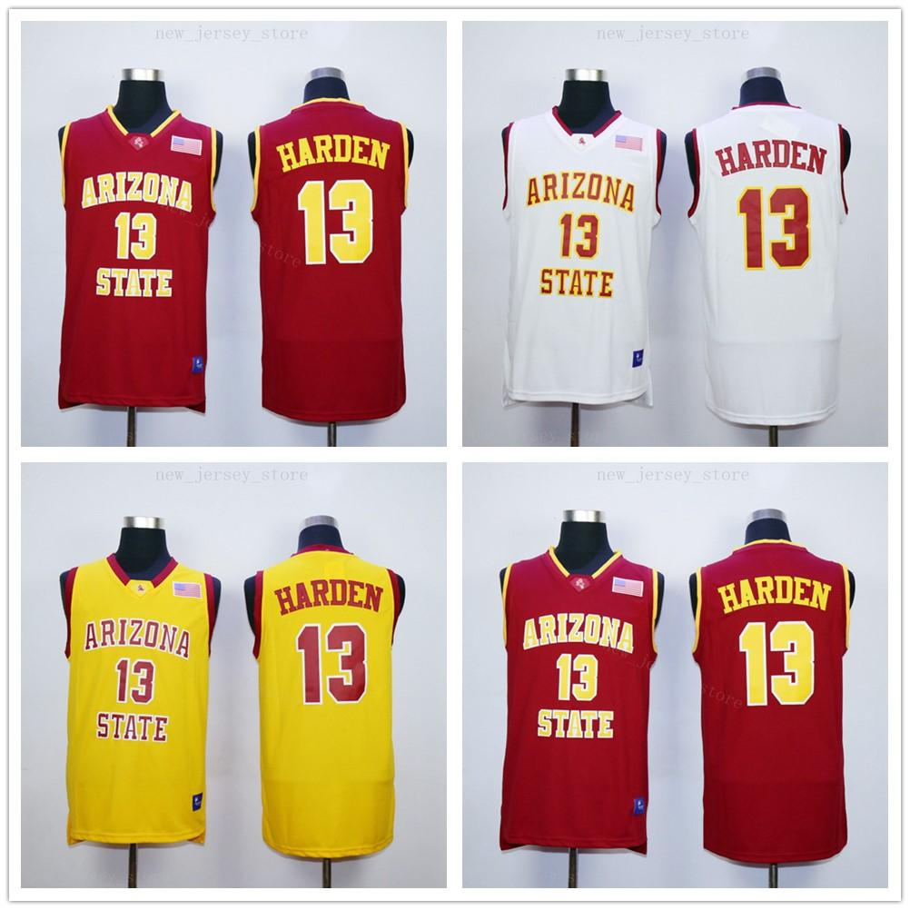 NCAA 13 James Harden Jersey Mejor Calidad Universidad cosido de Baloncesto del Estado de Arizona Sun Devils camisetas del equipo Color Rojo Amarillo Blanco