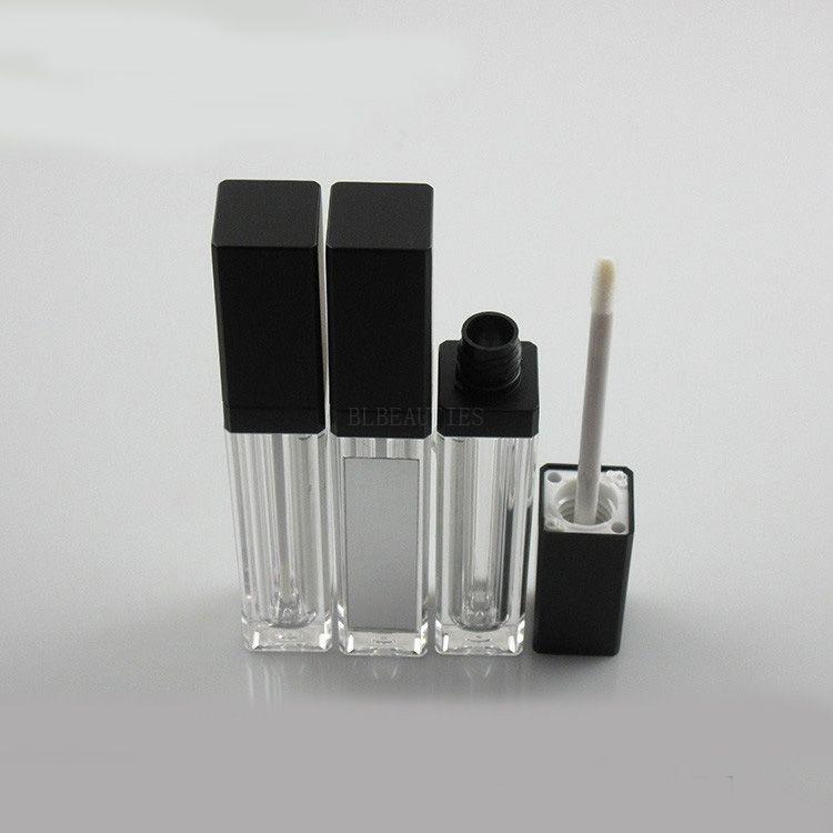 8 ml plaza brillo de labios tubo con tapa Negro, vacío de la herramienta de brillo cuadrado de envases cosméticos con espejo DIY del labio 100pcs / lot
