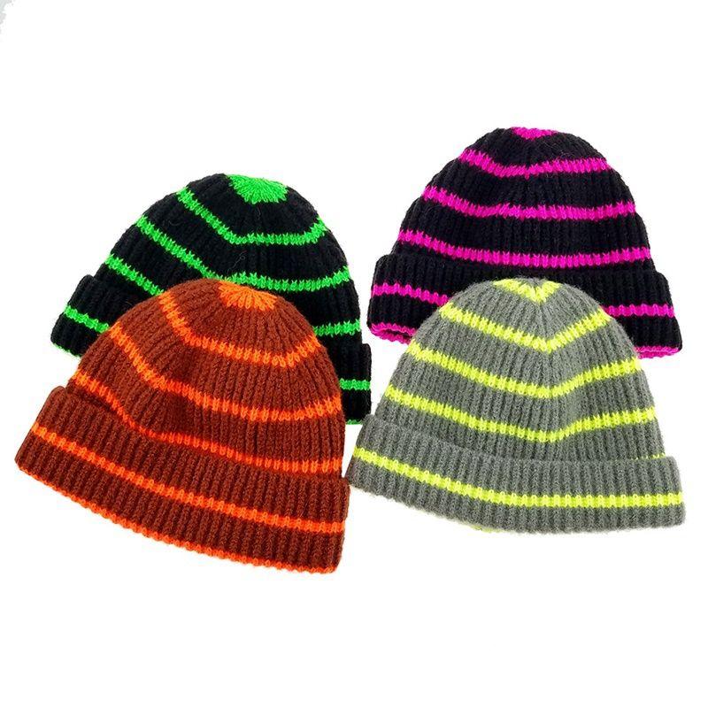 Kids Stripe Kintted Hat Autumn and Winter Warm Outdoor Hat Crochet Stripe Cap Fashion Designer Girls Children Kids HHA594