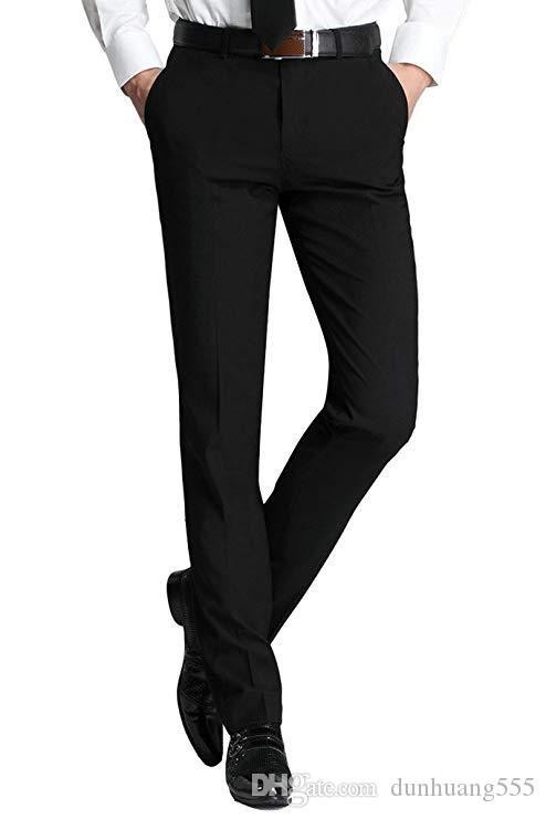 Men's Slim Handsome Black Separat Men's Match Fit Handsome Dress Pants Formal Business Slim-Fit Flat-Front Pants Great for Wedding Bussiness