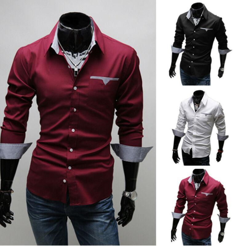 Uomo Camicia Slim Fit manica lunga vestito convenzionale Camicie Designer commerciali di lusso camice regolare camicia Solid abiti maschili
