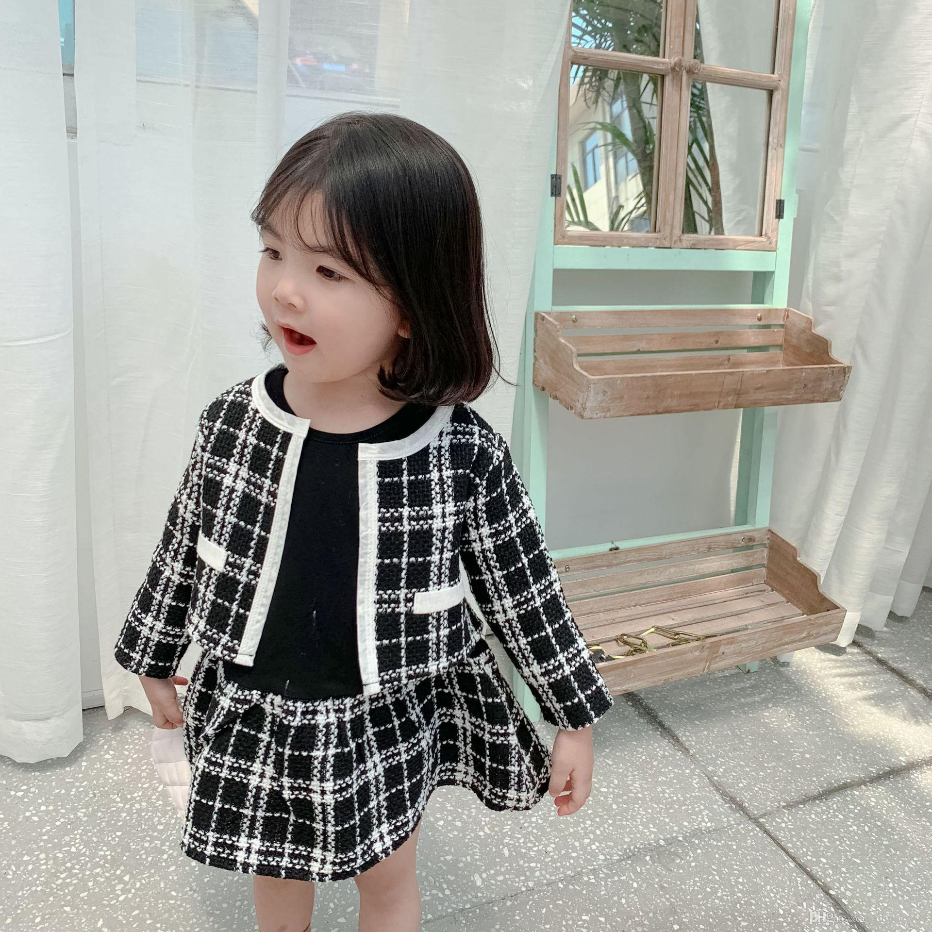 Lady style children princess outfits fall kids long sleeve splicing plaid dress+lattice blazers outwear 2pcs sets baby girl clothes F9575