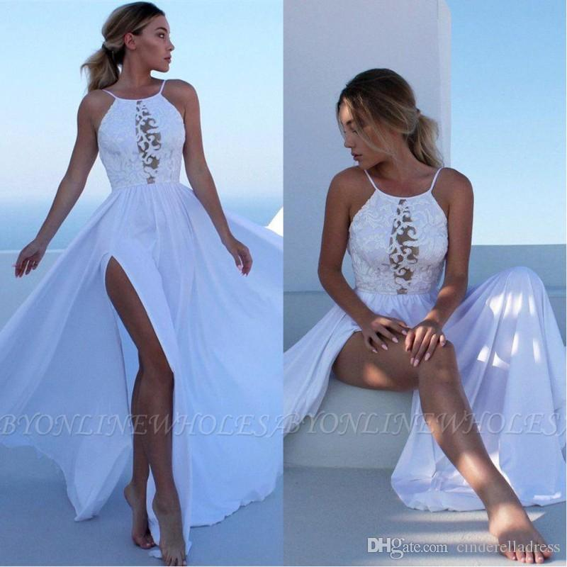 2020 Sexy Summer Beach Boho Wedding Dresses A Line Halter Neck Lace Chiffon High Split Bohemain Bridal Gowns Cheap Robe de mariee BC2697