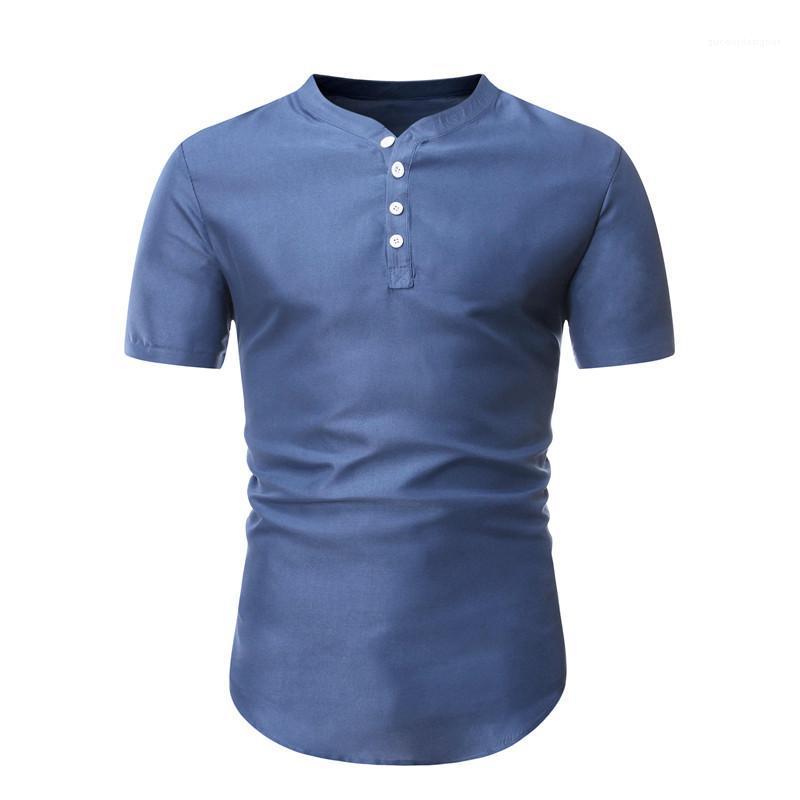سليم اعتلى واحدة القمصان عارضة البلوز القمصان قصيرة الأكمام الرجال ملابس رجالية مصمم اللون الطبيعي قمصان الموضة