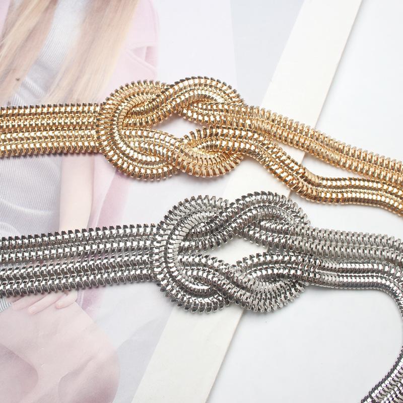 As senhoras da moda cinto de corrente de ouro metal nacional vento vestido corrente de ouro simples vestido selvagem cinto de estilista para mulheres