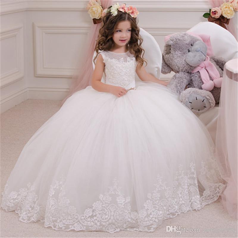 Pageant aniversário bonito Branca Flor Girl Dress Crianças formal do partido Lace vestido longo bowknot Primeira Comunhão Vestido Prom Vestido