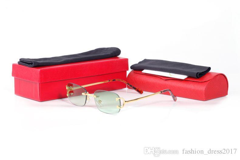 Gafas de sol de moda para las mujeres de los hombres unisex 2020 Marco sin rebordes famoso Deportes Gafas de sol retro Claro Espejos aleación UV400 Gafas Gafas