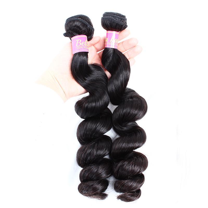 "8"" -30 '' peruanische Menschenhaar-Verlängerungs-natürliche Farbe löst Welle Haar-Webart-freies Verschiffen Bella Haar"