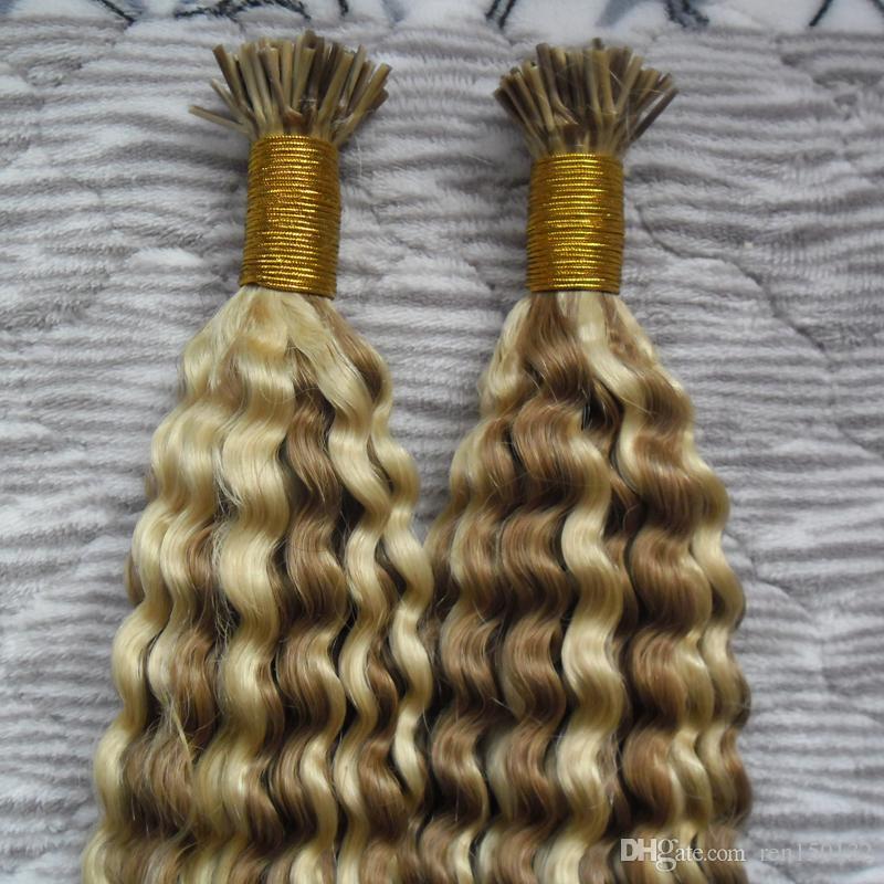 1g / pc Pré Extensão Do Cabelo Bonded Eu Dedo Extensão Do Cabelo Humano 200 pcs afro kinky curly Remy Do Cabelo Humano Eu ponta extensões