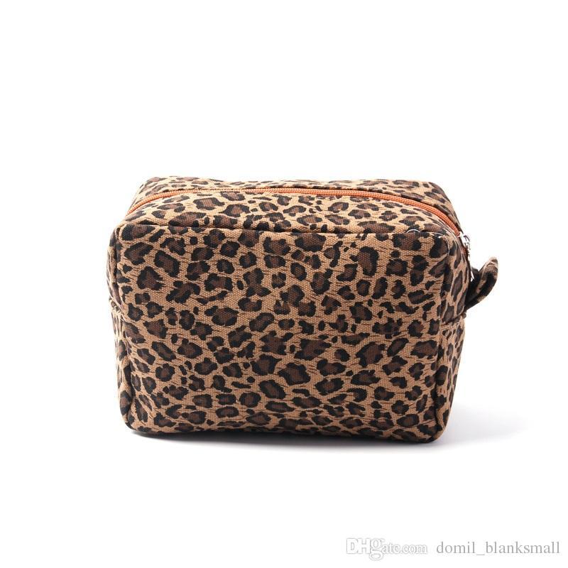 Оптовая продажа Леопард косметичка Гепард макияж чехол Леопард холст туалет дорожная сумка ручной клатч кошелек DOM-108387
