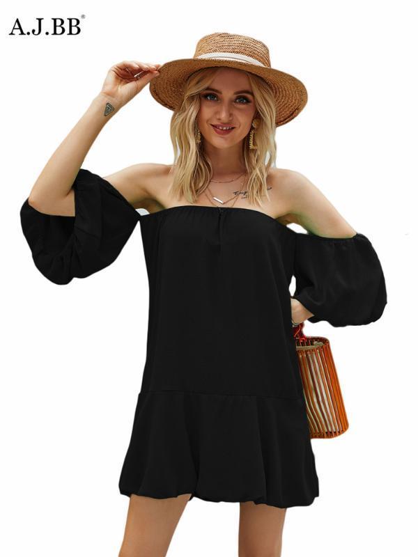 verano atractivo color sólido Europea la orilla del manto de manga corta de la moda vestido de hombro delgado de manga farol mujeres