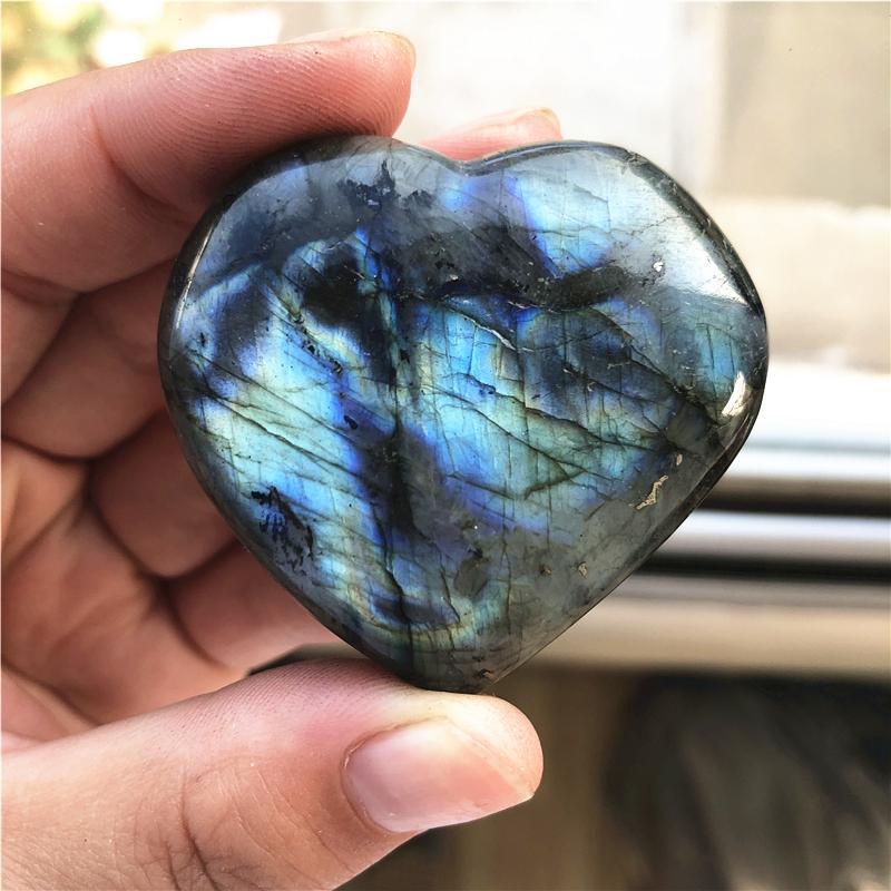 3-5см Красивый цвет натуральный лабрадор хрустальное сердце Грубый Полированный Gemstone Исцеление Рейки Кристалл для украшения дома