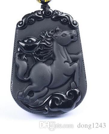 45x33mm hermoso negro doğal obsidyen tallada zodiaco chino caballo aksesuarı amuleto colgante + yaka elbise