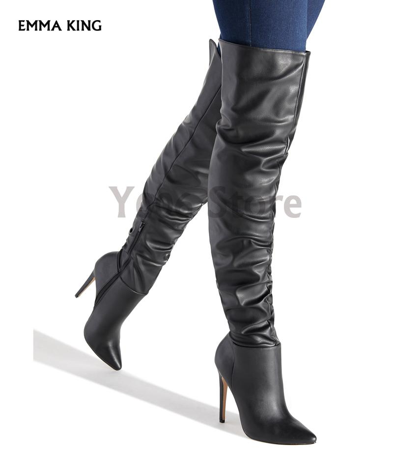 Womens Stiletto Heel Pointed Toe Over The Knee Thigh High Boots Black
