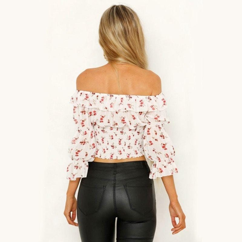 Wholesale-Print Off Shoulder Blouse Women Tops Ruffle Summer Boho Stylish Street Sexy Crop Top Pleated Slim Backless Ladies Blouses