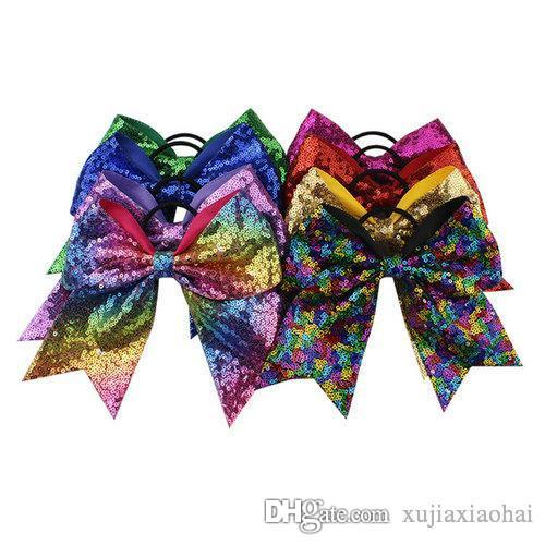 8 INCH Fashion Handmade Sequin Bling Cheer Bows Hairbands for Girl Children Kids Boutique Sequin Hair Accessorie DHL