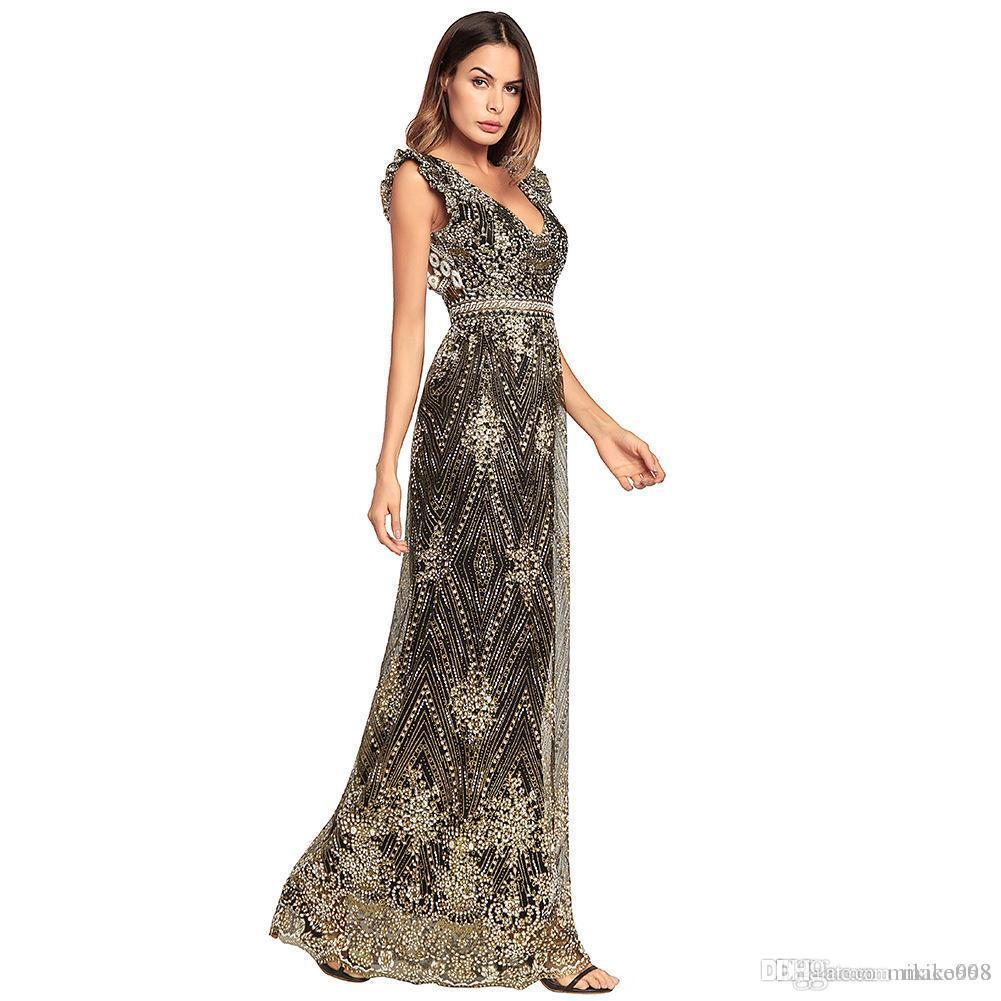Avrupa ve Amerikan seksi nedime Halter V yaka kemer uzun etek elbise