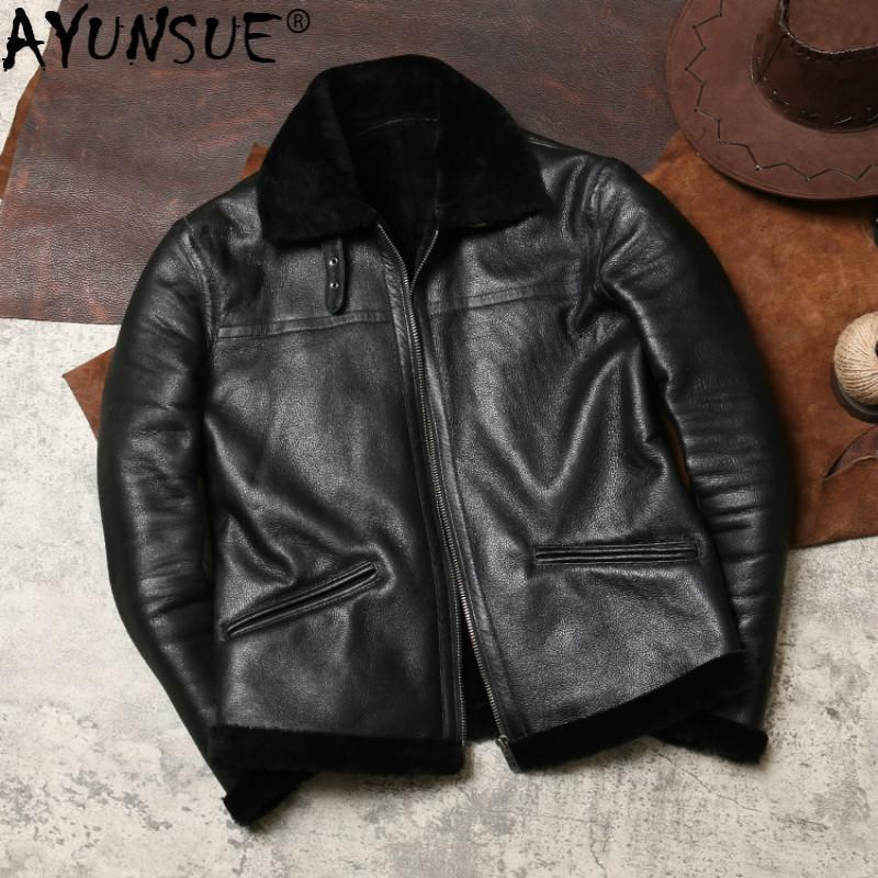 AYUNSUE Genuine Leather Jacket Men Real Fur Coat Winter Flight Shearling Jacket Sheepskin Coat Wool Lining Leather Jackets J4976
