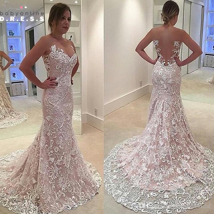 Fashion Lace Wedding Gowns Designer Design Mermaid Cut Out Back Chapel Train Ruffles Cheap Good Quality Bridal Dresses