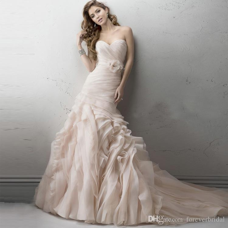 Light Pink Tiered Mermaid Wedding Dresses Chiffon Strapless Ruffles Bridal Gowns Court Train Big Hem Wedding Dress