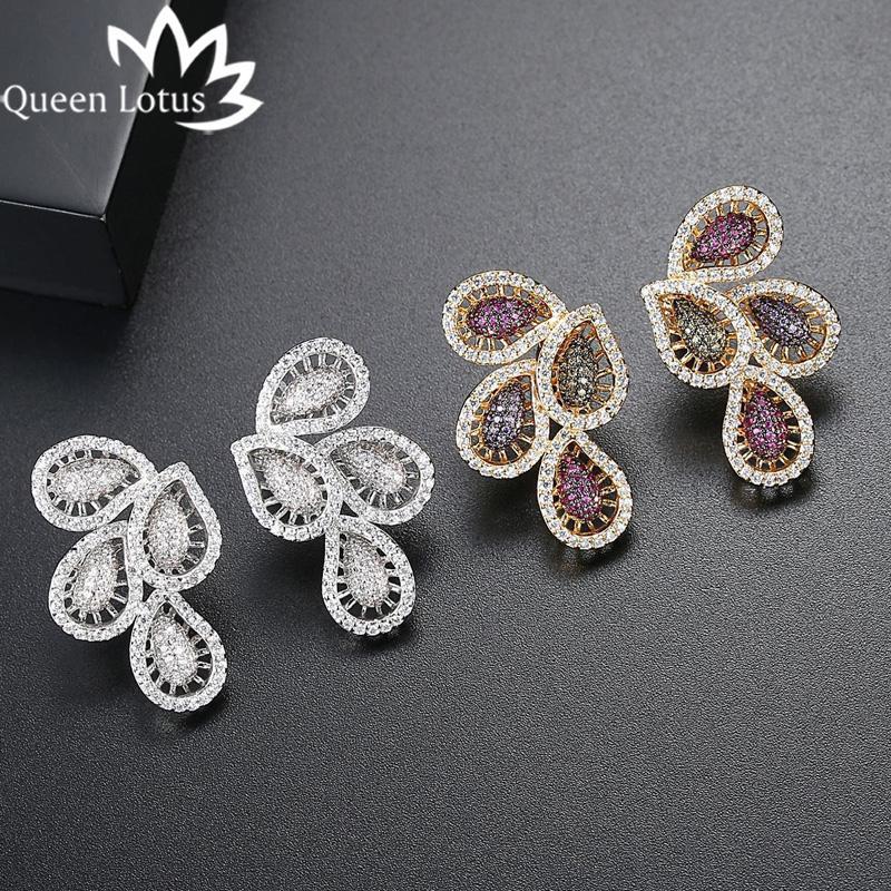 Reine Lotus Trendy femmes bijoux boucles d'oreilles en cristal coloré Boucles d'oreilles plumes Zircon cubique creux Boucles d'oreilles Vintage