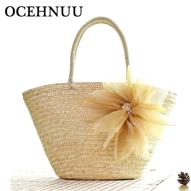 Ocehnuu New Arrival 2019 Summer Beach Bags Women Straw Handbags Colorful Large Capacity Big Zipper Casual Bags For Ladies Travel Y19061705