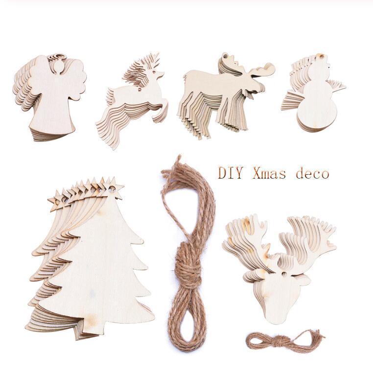 Echootime 10pcs/Lot Christmas Tree Ornaments Wood Chip Snowman Tree Deer Socks Hanging Pendant Christmas Decoration Xmas Gift Crafts Free