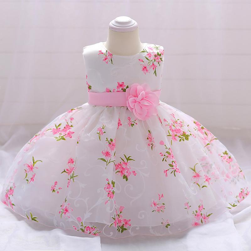 New Born Girls Dress 2018 Summer Lace Tulle Flower Party 1st Birthday Dresses For Baby Girls Clothes Vestidos Infant Tutu Gowns J190528