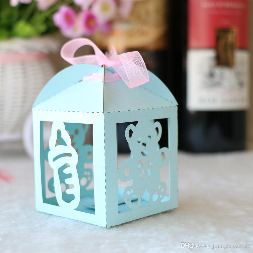عزيزي الطفل زجاجة بيبي دش الليزر قطع اللؤلؤ الحلوى مربعات الشوكولاته هدية الزفاف عيد الميلاد مربع مع شرائط القلعة الزفاف التذكارية