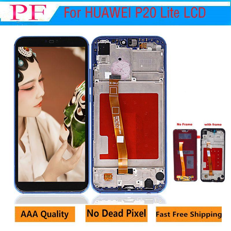 الصف A +++ الجودة شاشات الكريستال السائل لشاشة هواوي P20 لايت شاشة LCD لهواوي P20 لايت ANE-LX1 ANE-LX3 نوفا 3e مع الإطار محفظة 5pcs