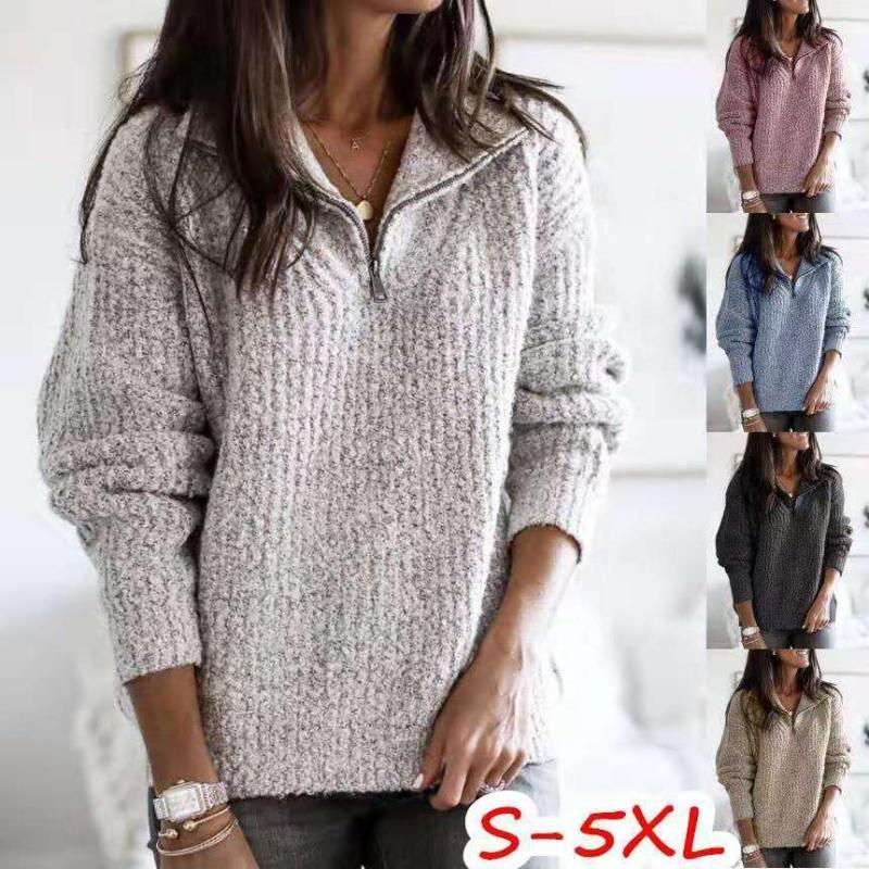 Houthion женщин свитер нового способа Темперамент Solid Color V-образным вырезом на молнии с длинным рукавом Пуловер вязаный свитер