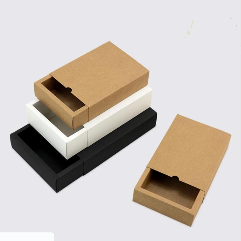 10pcs boîte en carton d'emballage cadeau kraft noir coffret cadeau emballage noir tiroir papier blanc mariage faveur tiroir délicat
