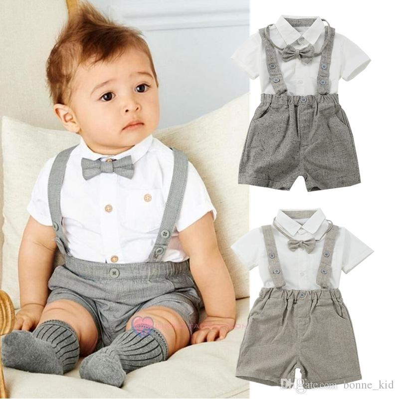 Newborn Baby Boys Suits Formal Outfits Clothing White Shirts Gray Suspender Shorts Bowtie 3-piece set Baby Clothes Rompers Jumpsuits 0-24M
