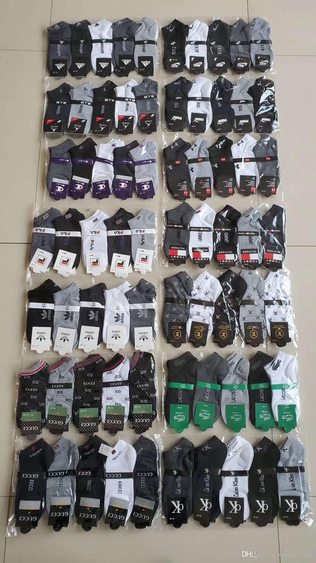 Fashion Women Men Ankle Socks Fils Sock Slippers Sports Cotton Anklet Hosiery Short Socks Sneaker Stockings With Tag Hot