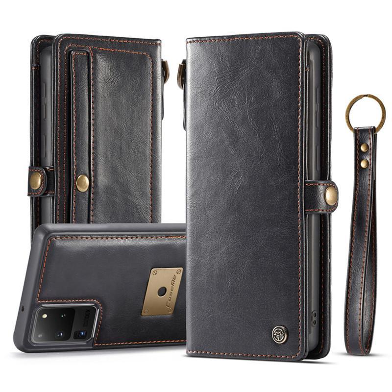 Cas de luxe en cuir pour iPhone 13 12 11 PRO X XS max 8 7 plus Galaxy S21 S20 S20 S10 Note 20 10 Portefeuille téléphone portable Couverture de protection