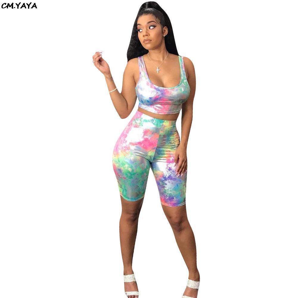 2019 femmes été cravate teinture galaxie réservoir imprimé tee-shirt haut longueur au genou pantalon costume deux pièces ensemble survêtement de plage sexy GLWYNZ8195