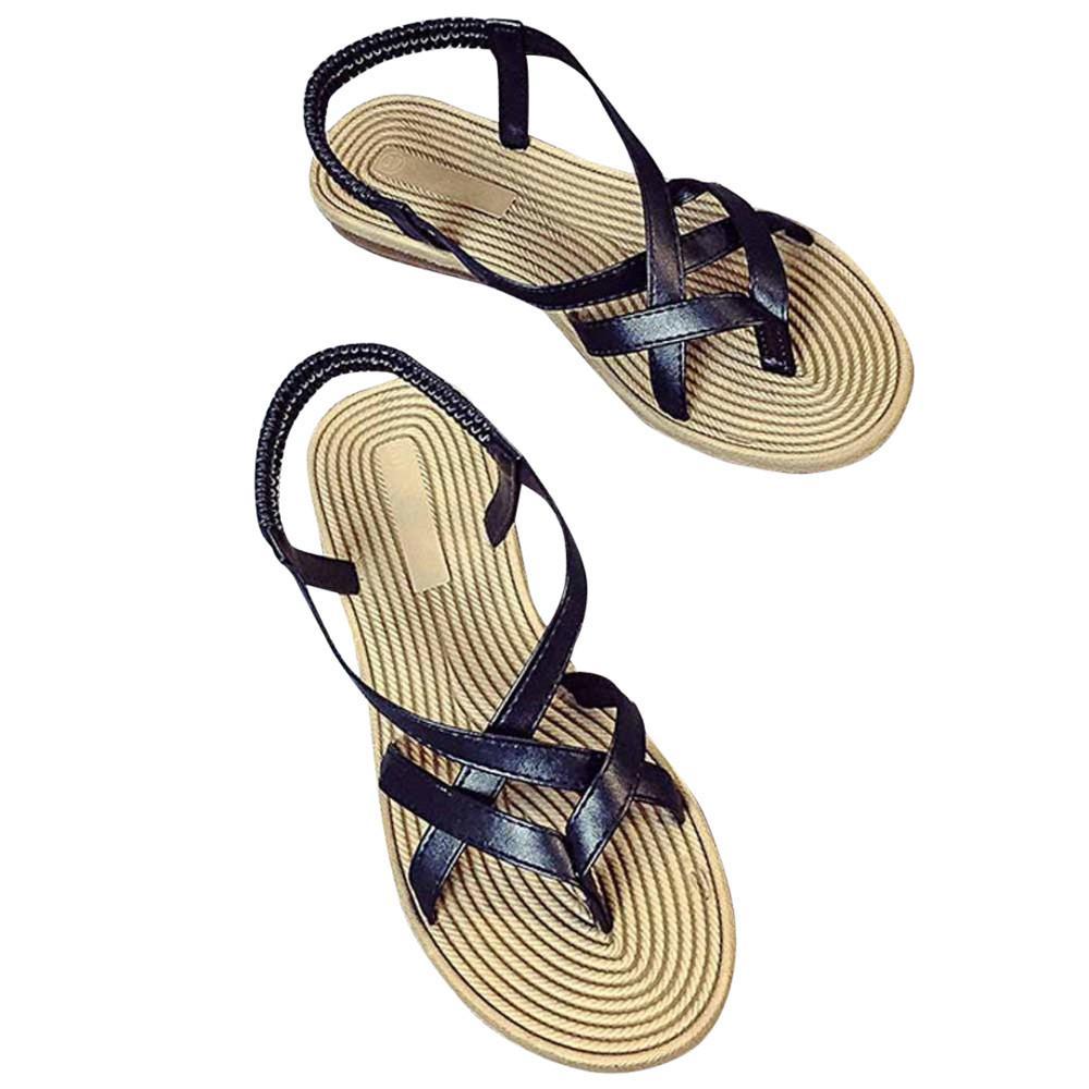 Mode décontractée été femmes chaussures plates bandage bohême loisirs dame sandales peep-toe chaussures de plein air solide base