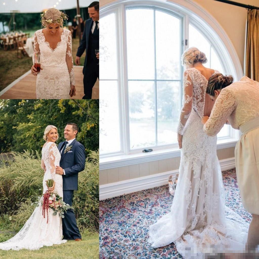 2019 Sexy robe de mariée sirène à manches longues col en V dentelle Custom Made appliques tribunal train robe de mariée robes