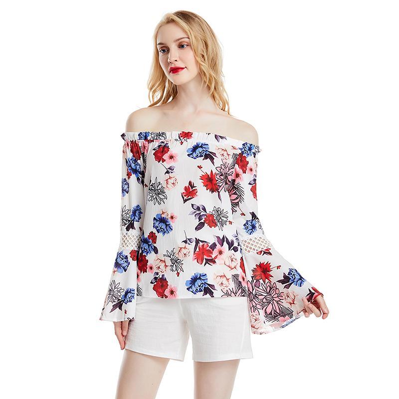 Lady Çiçek Casual Boho Flare Kol Kadın Gömlek blusas Feminina İçin Omuz şifon Gömlek Kapalı Yaz Kadın Gömlek