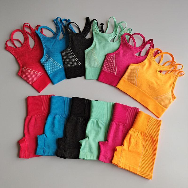 Vêtements d'entraînement Femmes Yoga sans couture sport Costumes Sport Bra Top + taille haute de remise en forme Shorts 2 Piece Set Gym en cours de sport