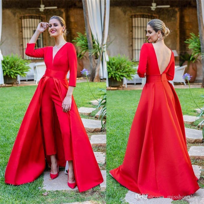 Red mangas compridas V Long Neck Jumpsuit Evening Partido para o desgaste Backless formal do partido Prom Vestidos com mais de saia BC1821