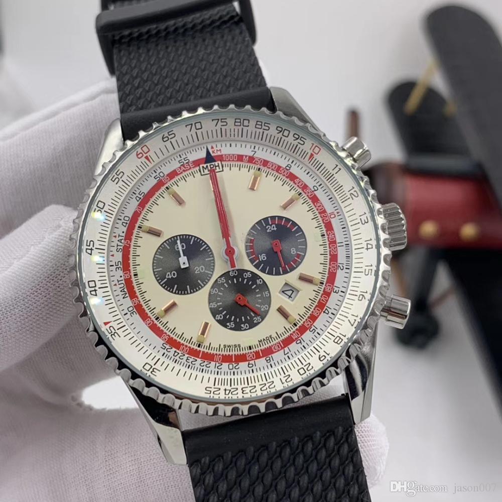 Cronógrafo de cuarzo de 46 mm Navitimer Fecha Relojes para hombre Luminoso Red Manos Reloj Black Rubber Band White Dial Wristwatches