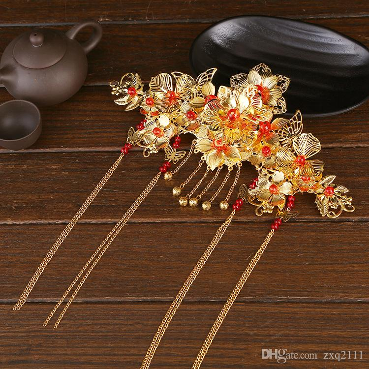A piece Chinese traditional women fashion gold queen hair vintage jewelry bride wedding hairpin band flower festival gift