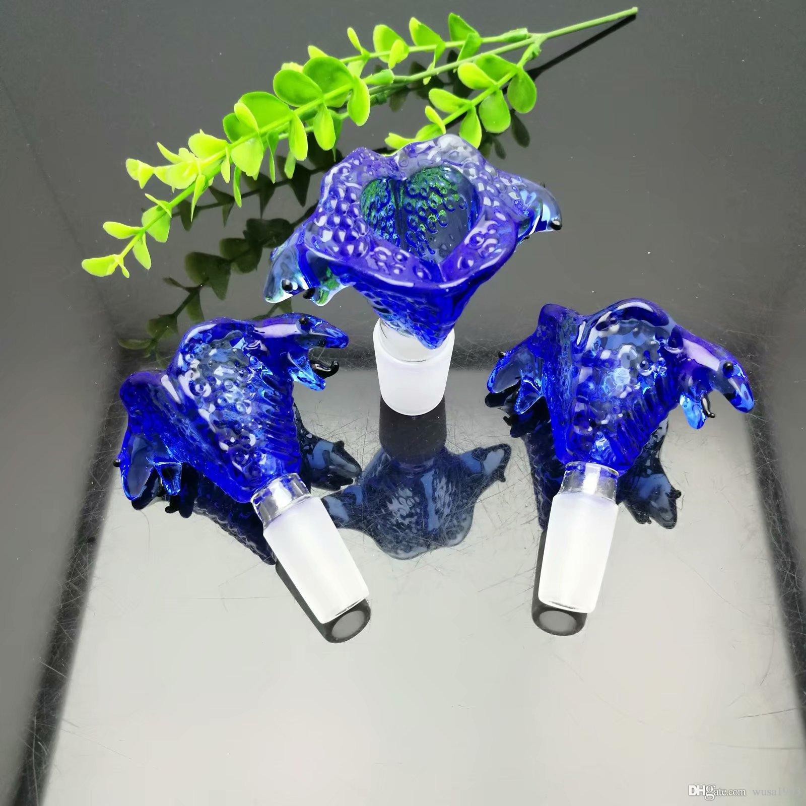 Bleu Cartoon verre Griffe Bubble Head gros verre narguilé, pipe à eau en verre Raccords, fumer, libre Shippin