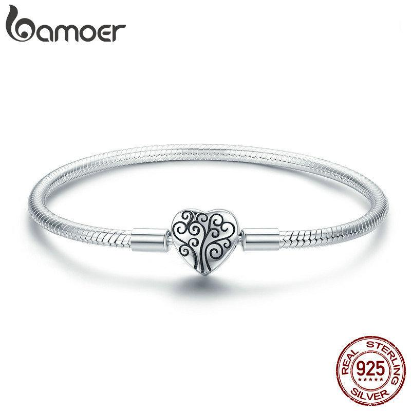 Bamoer 100% 925 Sterling Silver Spring Tree Of Life Heart Shape Clasp Snake Chain Bracelet Sterling Silver Jewelry S925 Scb066 J190625